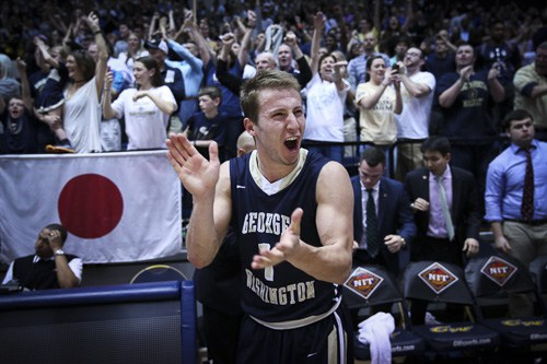 Alex Mitola celebrates GW's NIT quarterfinal victory over Florida. Hatchet File Photo by Dan Rich